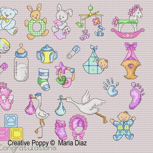36 Baby motifs cross stitch pattern by Maria Diaz designs