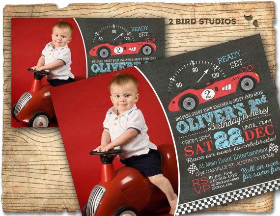Race car birthday invitation Race car invitation by 2birdstudios