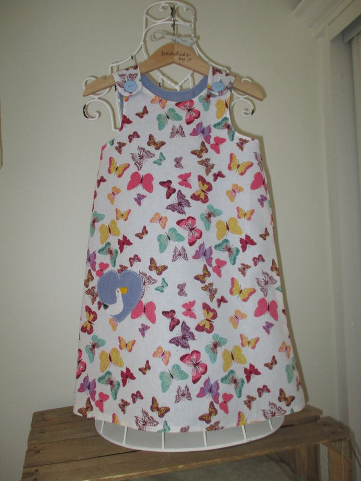 Reversible Dress, Girls Dress, pinafore, butterflies, blue chambray, shift dress, chintzy, applique heart,  leggings, 2 in 1 dress by beadiesbyjo on Etsy