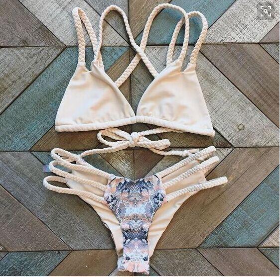 Beige Triangle Sexy Bikini