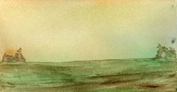 Semplice paesaggio astratto in acquerello sui toni di MarMusArt