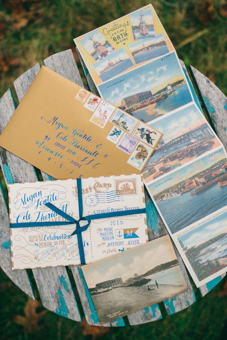 nautical wedding invitations uk%0A Intimate Autumn Wedding in Maine