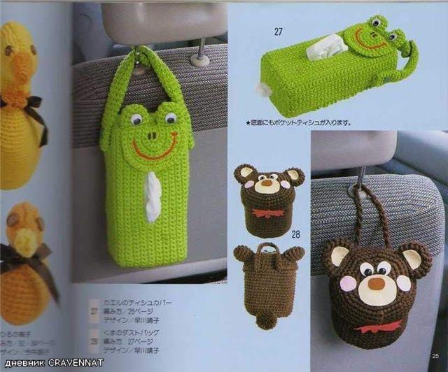crochet kleenex | Crochet tissue holder for your car