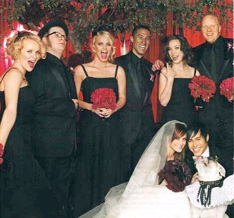 Pete Wentz and Ashlee Simpson I really loved this wedding picture, I wish I could find the whole thing.