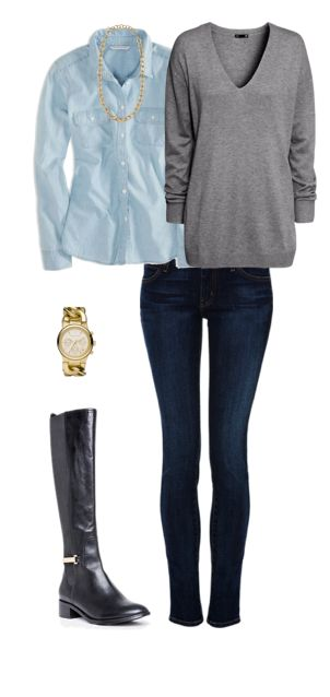 Outfit Posts: outfit post: grey tunic sweater, light chambray shirt, rockstar skinny jeans, black riding boots