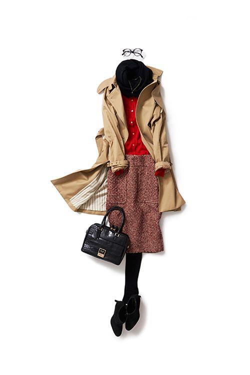 トレンチをレトロなムードで着る 2015-11-17 | skirt brand : TOMORROWLAND/BACCA