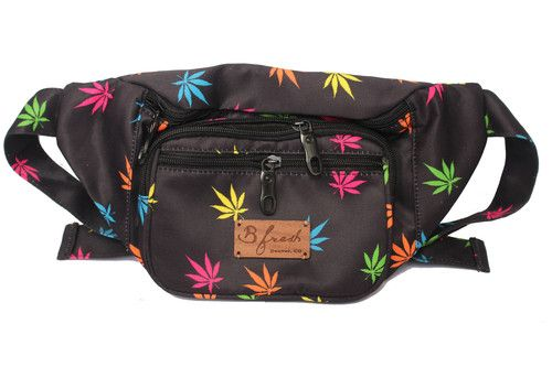 This bum bag features neon pot leaves throughout on lightweight black fabric with a hand sewn wood label.