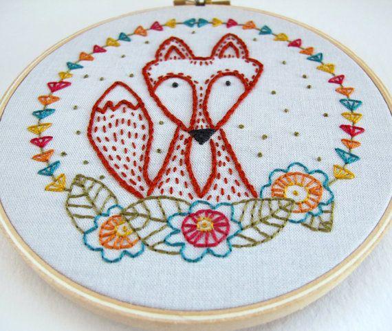 CRAFTY FOX pdf embroidery pattern by cozyblue on Etsy