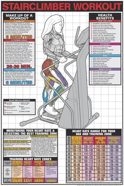 Stair Climber Workout Fitness Center Instructional Wall Chart Poster