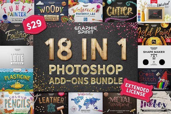 18 IN 1 Photoshop Bundle SALE by Graphic Spirit on @creativemarket
