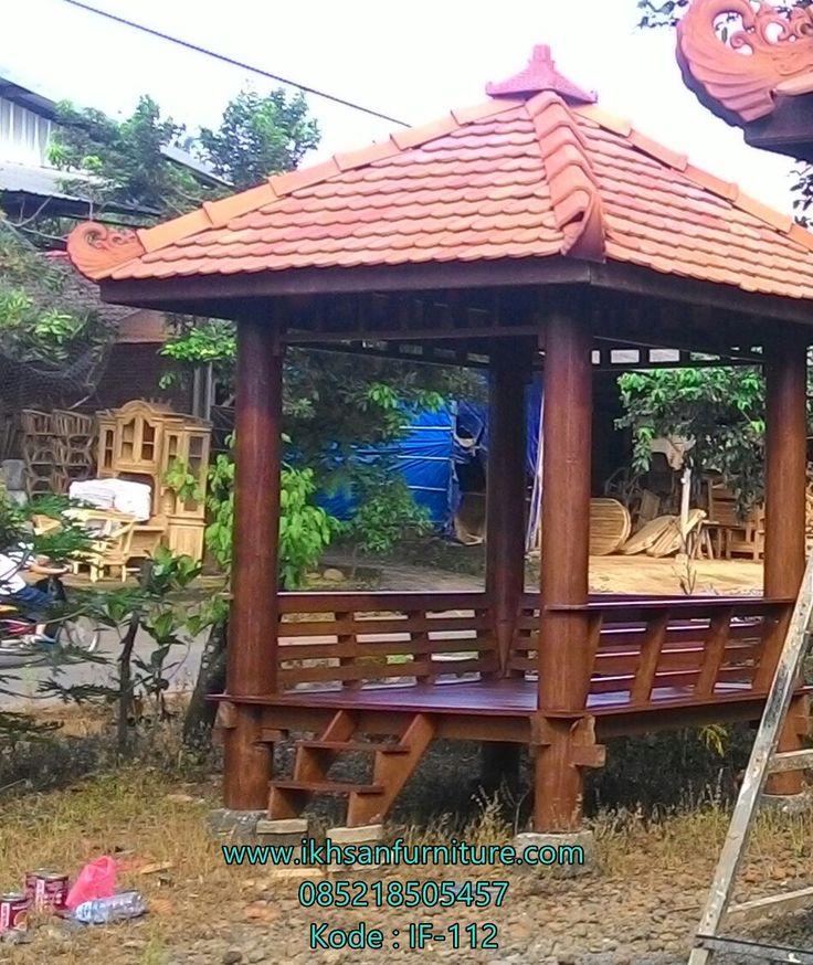 JualGazebo Taman Kayu Kelapa Atap Genteng ModelGazebo Taman Kayu…