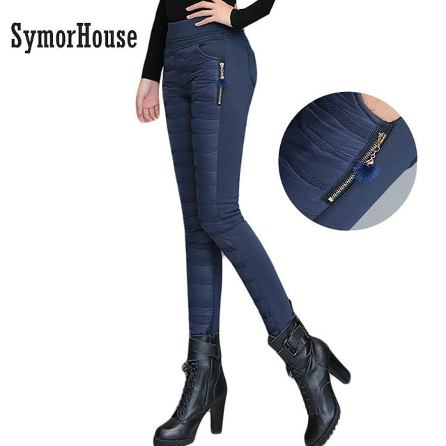 Best Sellers $18.82, Buy SymorHouse Winter Pants Trousers Women 2017 New High Waist Stench Duck Down pants Thick Slim Warm Lady Pencil Pants