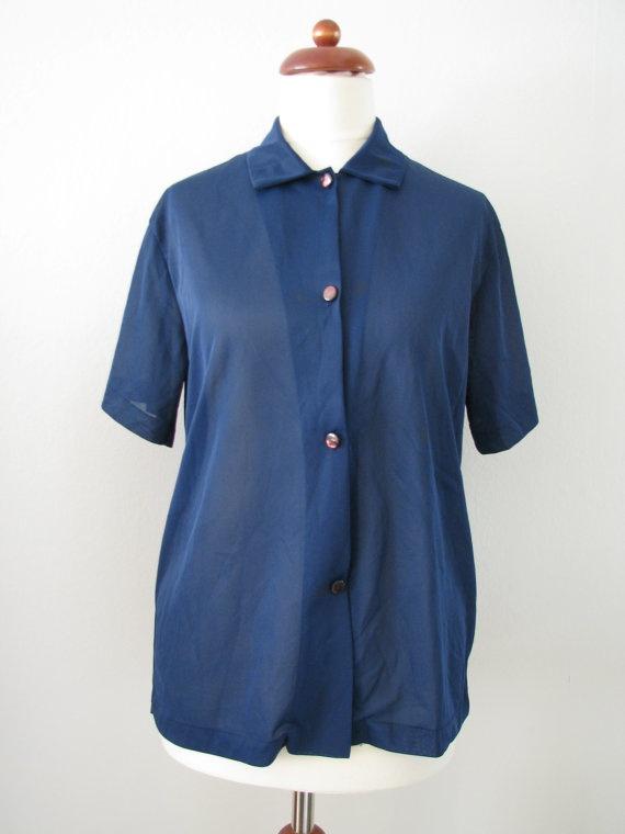 70s does 40s Navy Blue Nylon Short Sleeve Shirt