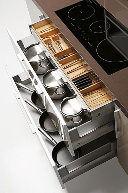 Store 2nd drawer utensils under the stove top