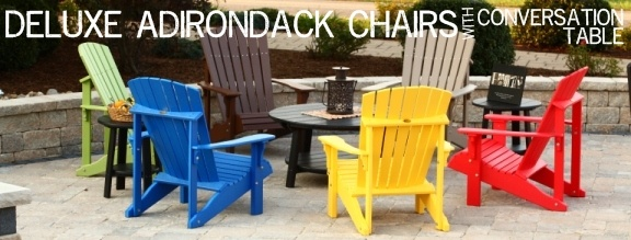 Adirondack Chairs, deck chairs with table Swiss Country Lawn and Crafts | Sugarcreek Ohio | Outdoor Furniture | Amish Made Furniture www.swisscountrylawn.com