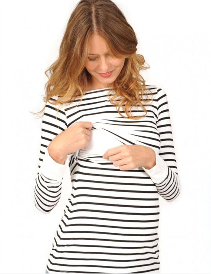 Cute Long Sleeve Striped Nursing Top - Milk & Baby   - milkandbaby.com