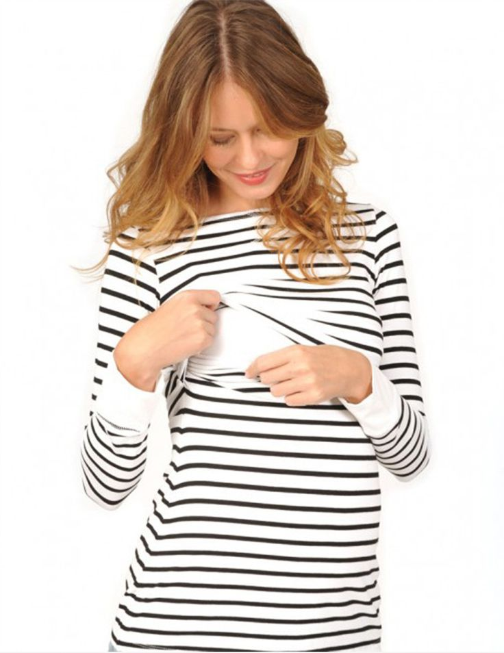 Cute Long Sleeve Striped Nursing Top - Milk & Baby   - milkandbaby.com