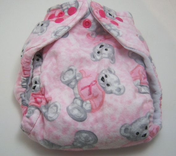 Breast Cancer Ribbon Bear Cloth  Diaper by Los by loschiquitos
