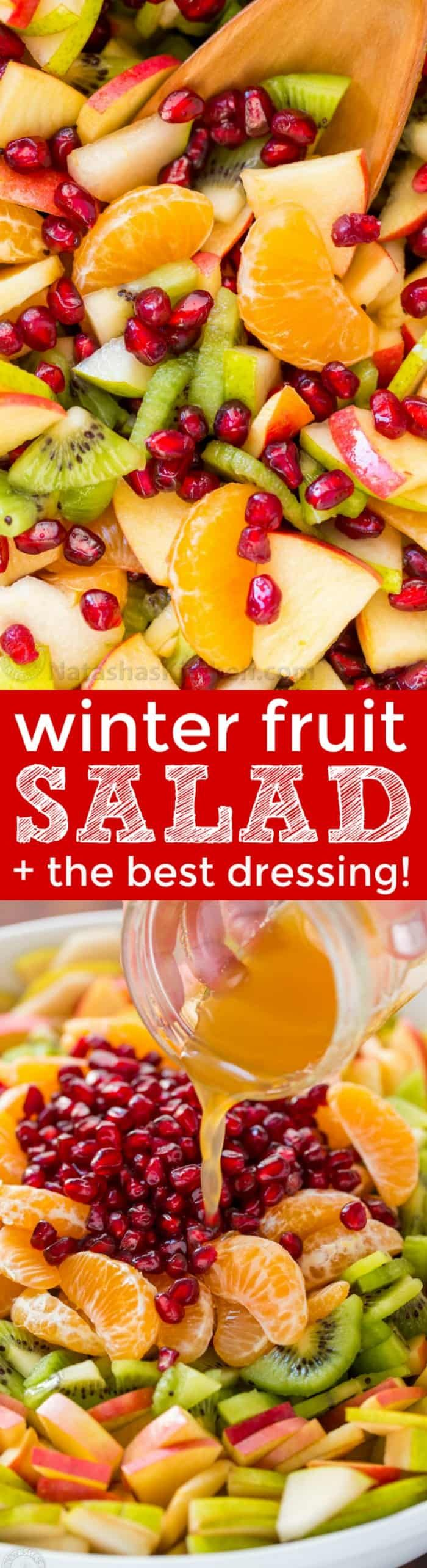 Winter fruit salad is refreshing and loaded with the best fruits of winter. The lemon-lime-honey syrup is lip-smacking good! You'll be running for refills! | natashaskitchen.com #fruitsalad #winterfruitsalad #autumnfruitsalad