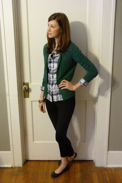 black skinny pants, plaid, green cardigan