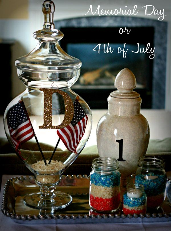 pour rice in glass bowl, drop a few drops of food color on rice, mix till well blended.   Pour in jars by color, add votive candle in center.  Done!