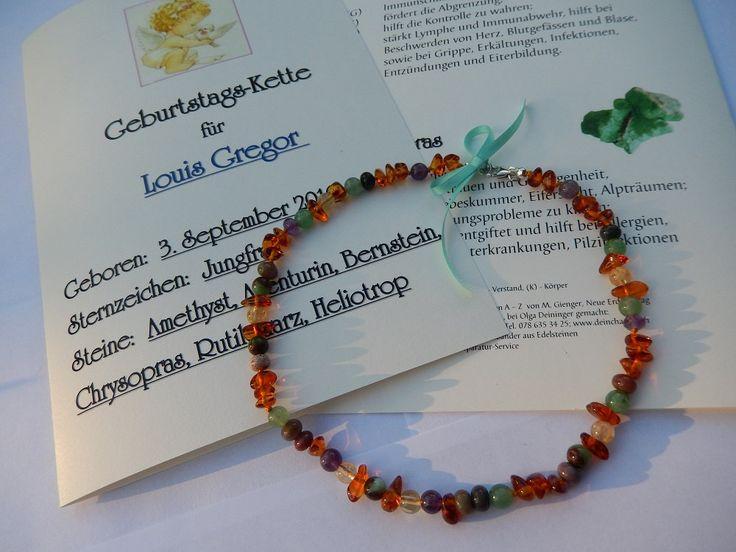 Babyhalskette Halskette Baby Bernstein Edelsteine Sternzeichen Geburt Geschenk von DeinCharme auf Etsy
