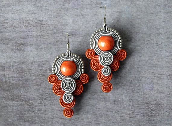 Grey gray red soutache earrings hand embroidered earrings beads embroidery earrings soutache jewelry
