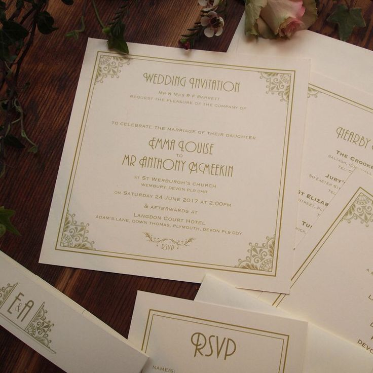 Art Deco Wedding Invitations, Information Sheets and Reply Cards all held together with a belly band printed with the couples monogram