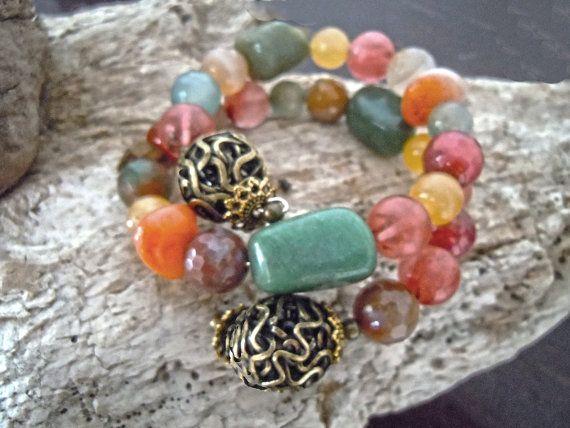 Bracciale wire agata, corniola, giada, occhio di tigre e metal nickel free bronzo, bracciale verde, bracciale colori autunno