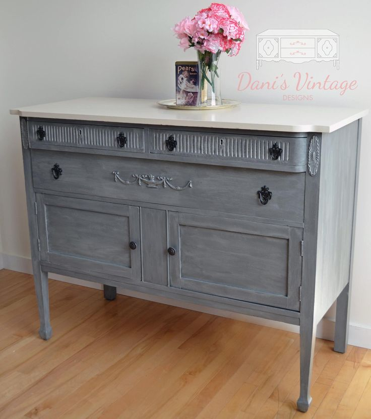 Grey with Off White Top Buffet Sideboard