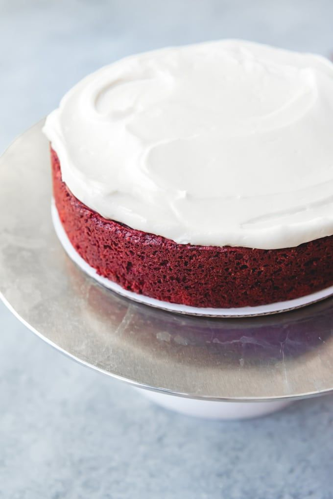 An Image Of A Single Layer Of Red Velvet Cake That Has Been Frosted With Cream Cheese Frosting Best Red Velvet Cake Velvet Cake Recipes Red Velvet Cake