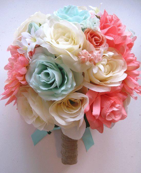 Coral Colored Flowers Wedding 17pc Wedding Bouquet Bridal Silk Flowers CORAL MINT PEACH CREAM Set