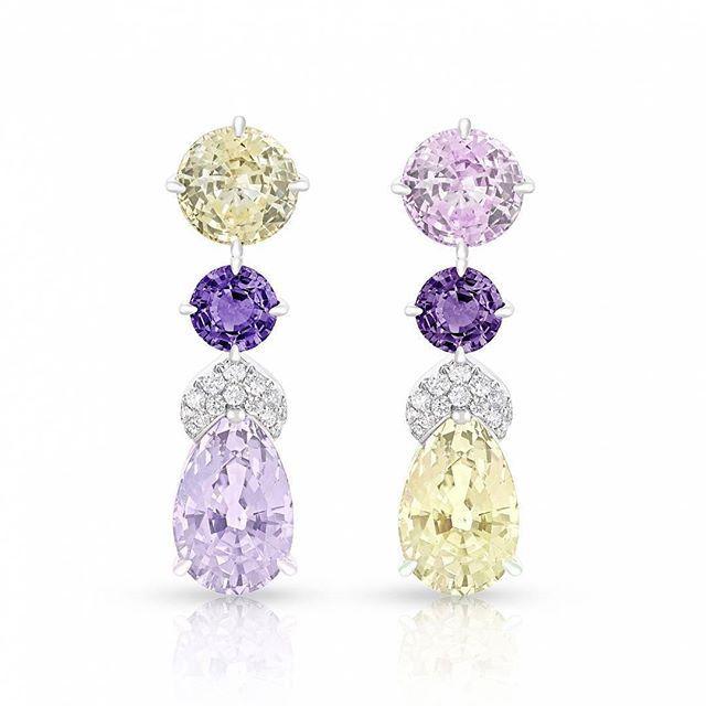 Introducing #Faberge's Délices d'Été Drop Earrings ! #PinkSapphire #YellowSapphire #PurpleSapphires #Diamonds#OlivierAwards2017