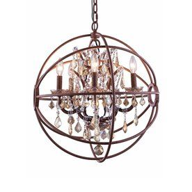 Elegant Lighting Urban 20-In 5-Light Red Rusted Paint Novelty Hardwired Cage Chandelier 1130D20ri-Gt/Rc