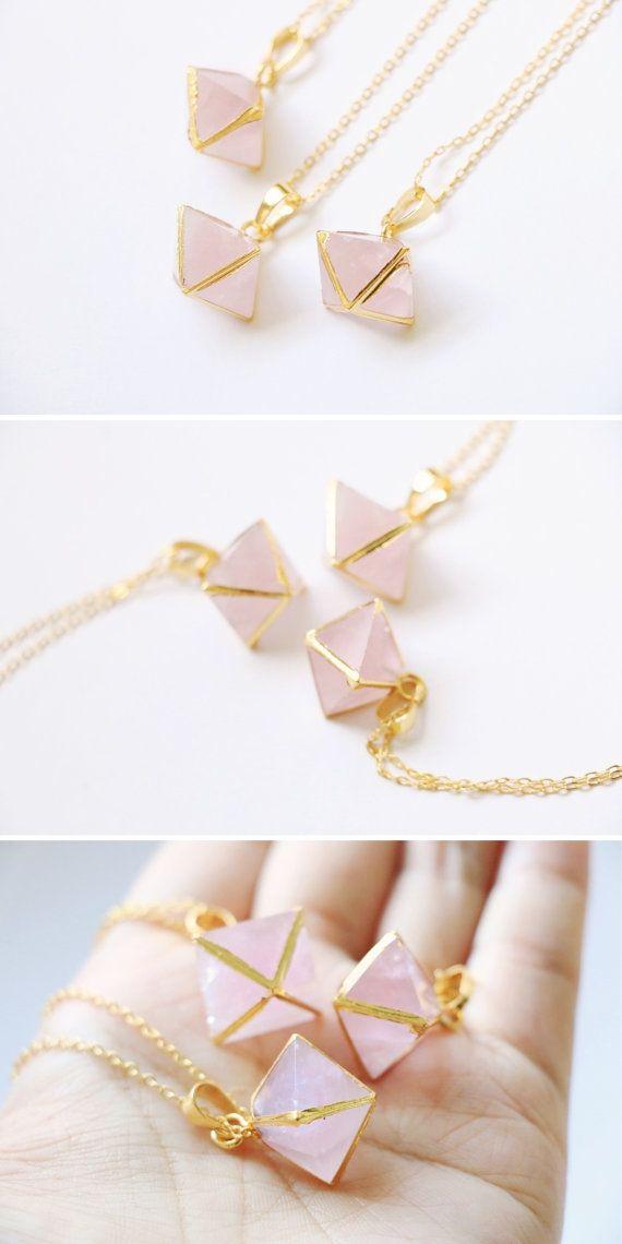 Rose Quartz Necklace Rose quartz choker Raw crystal