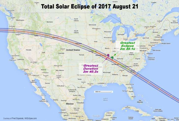 """Map showing the path of totality for the """"Great American Total Solar Eclipse,"""" which occurs Aug. 21, 2017."""