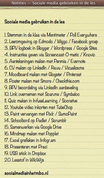 20 manieren om sociale media in de les te gebruiken!
