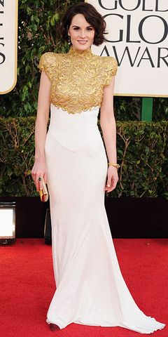Michelle Dockery - modest gold and white gown - 2013 Golden Globes