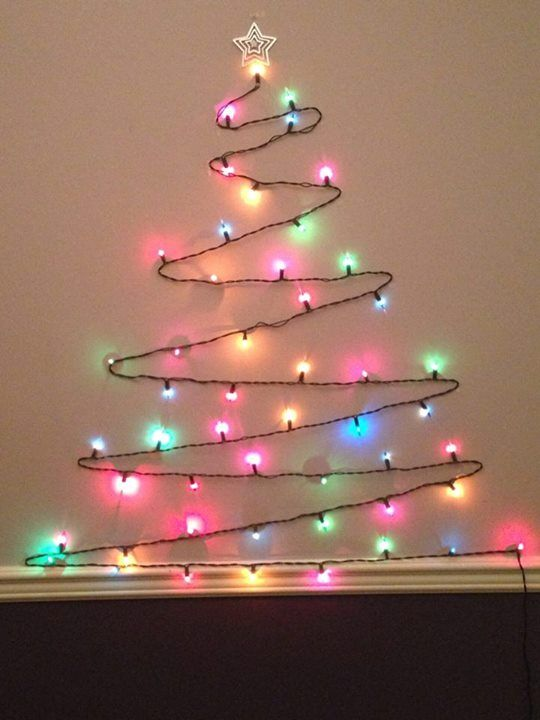 String Lights On Wall : Easy Christmas decorating! use string of lights, and pin to wall like this! Christmas ...