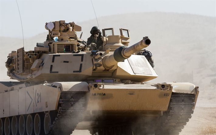 Download wallpapers M1 Abrams, American main battle tank, the US, the American army, modern armored vehicles, desert, dust, sand