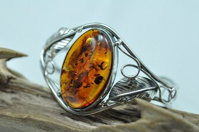 Amber bangle,bracelet - cognac colour stone.