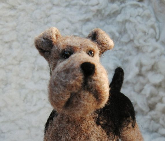 Needle Felted Airedale Terrier  READY TO SHIP by willane on Etsy