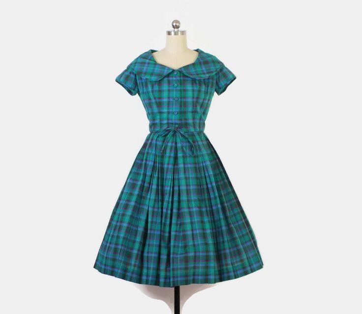 Vintage jaren 1950 2 delige geruite jurk set. Turkoois, groene en paarse plaid…