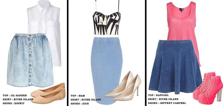Dżinsowe spódnice to must have na lato. Prezentujemy 3 outfity z takimi spódnicami. Który jest najbardziej w Waszym stylu?   Spódnice dziś w nowościach od River Island! http://glamstorm.com/pl/ubrania/detale/id/5567 http://glamstorm.com/pl/ubrania/detale/id/5571  /Denim skirts are a must have for the summer. We present three outfits with these skirts. Which is the most in your style?  http://glamstorm.com/en/clothes/details/id/5571 http://glamstorm.com/en/clothes/details/id/5567