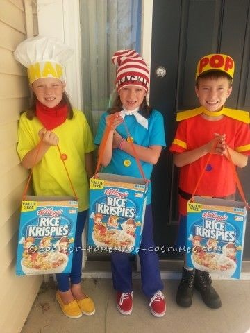 """Snap, Crackle, Pop Costumes. Clever Trick or Treats """"bags""""."""