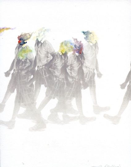 """#JeanPaulMallozzi's study for Three's a Crowd, 8"""" x 6"""" #drawing #mixedmedia #contemporary #art at #MarguliesAgency"""