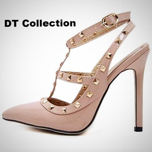 Ladies Sexy Pointed Toe High Heels Buckle Studded Stiletto