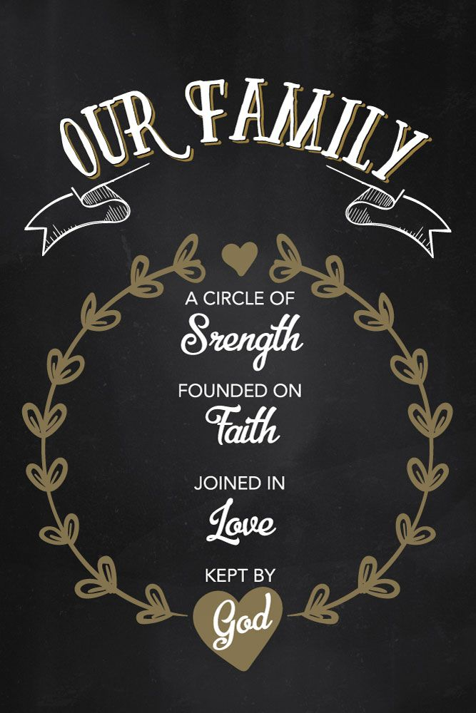 $5.00 Bible Verse Print - Our Family A circle of strength, founded on faith, joined in love, kept by God  A beautiful chalkboard print of the family dynamics. A perfect place to hang the beauty would be by the dinner table. The place where you all come together. So you can be reminded of what you're really made of as one family though God. - Different size options available #bibleverse #bibleverseprint #christianart #ourfamily #circleofstrength #foundedonfaith #joniedinlove #christiandecor