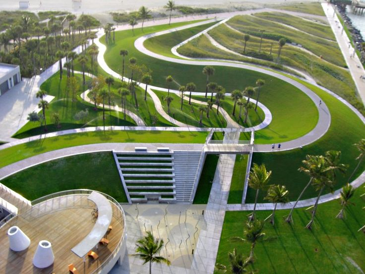 South Pointe Park / Hargreaves Associates ` ~ This is landscaping that might be used along the ocean fronts as a breaker against Hurricanes. If more trees are planted on the hillsides, they will remain intact longer, like the parks over the garbage dumps.
