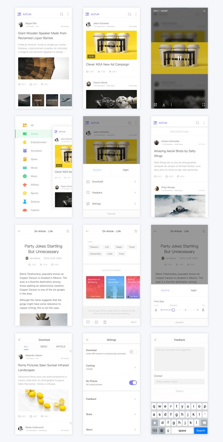 ACFUN News Client Design – iOSUp